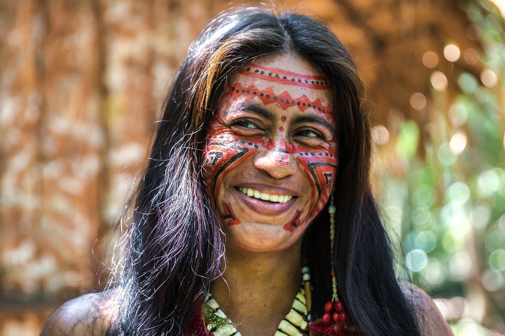 amérique, sud, brésil, portrait, femme, indienne, amazonie, tribal, ethnie