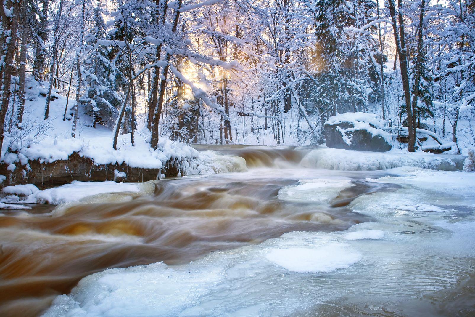 estonie, europe, cascade, eau, neige