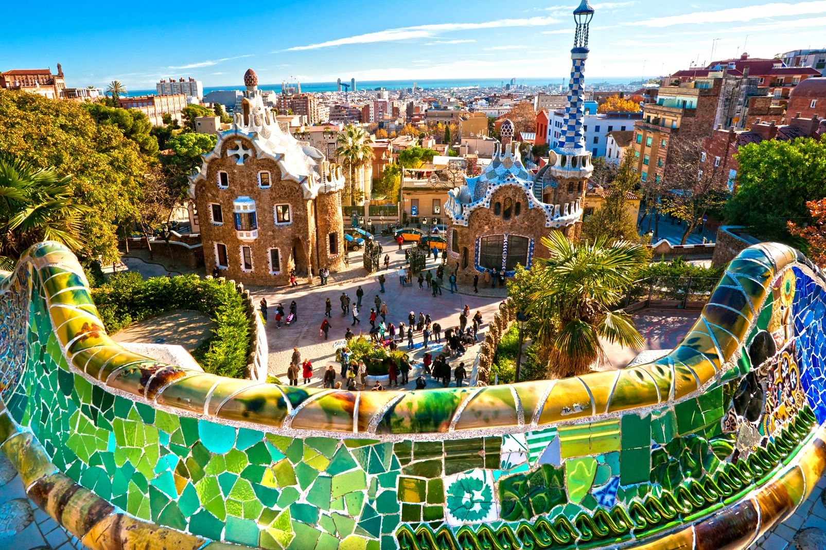 Europe, Espagne, art, gaudi, Barcelone, guell, parc