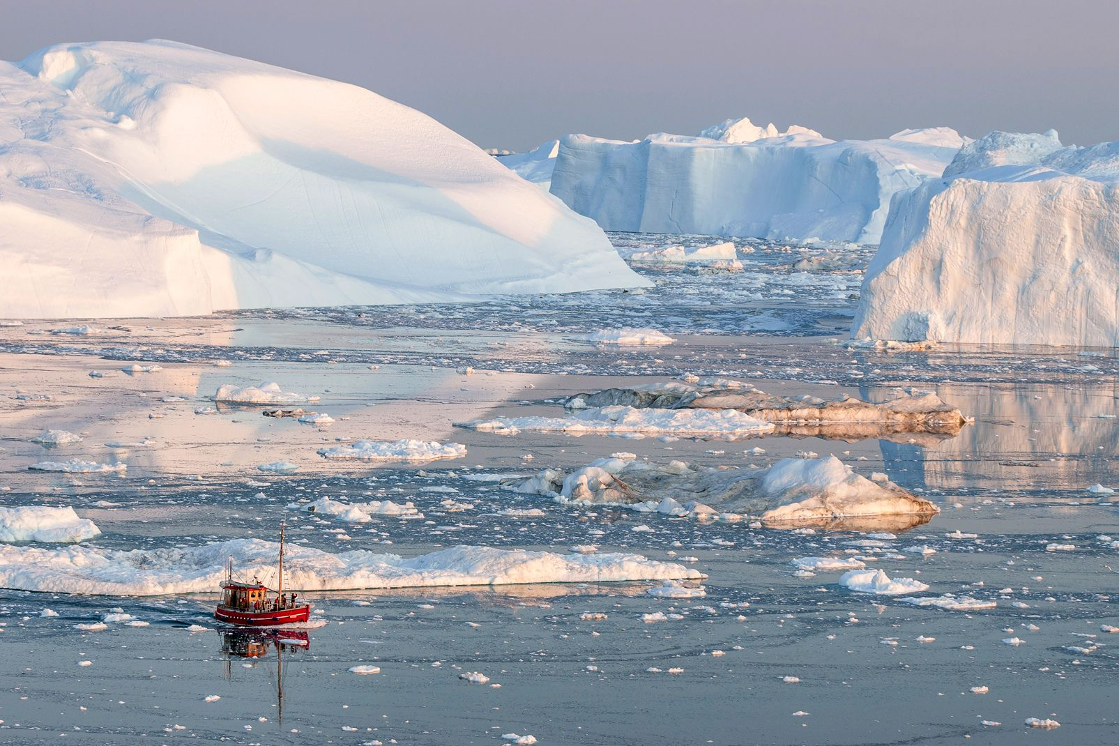 Amerique, groenland, neige, iceberg, bateau, glace