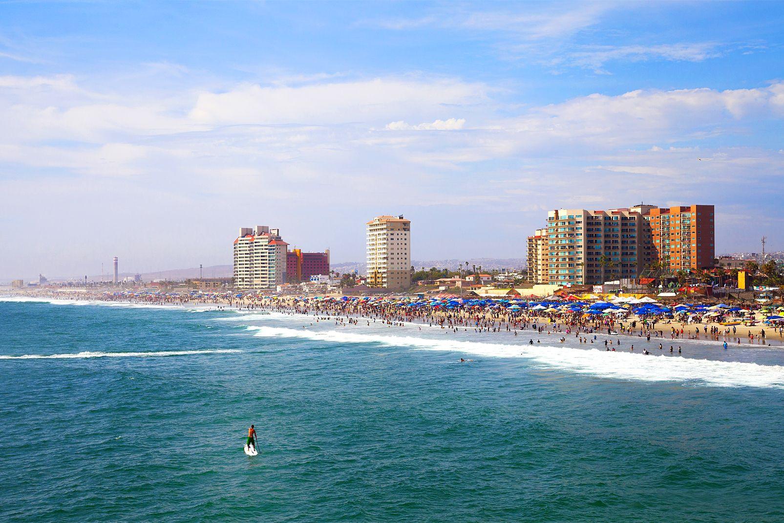 afrique, mexique, californie, plage, rosarito, hôtel