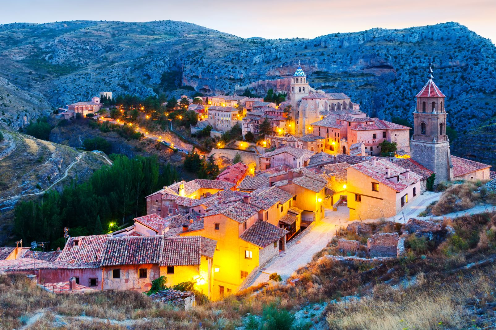 village, albarracin, angora, espagne, europe, aragon