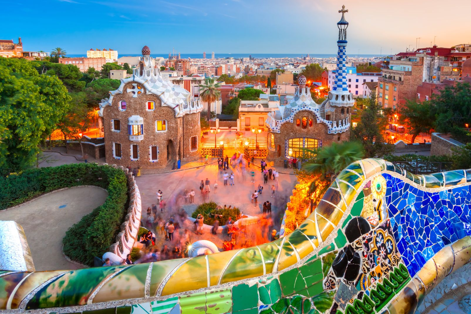 Catalogne, espagne, Barcelone, europe, gaudi, parc, guell