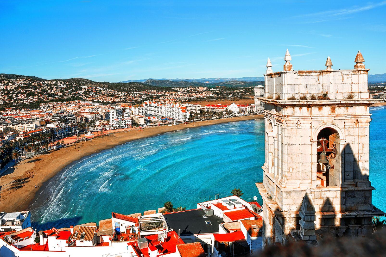 communauté, valence, plage, espagne, Europe, méditerranée, Castellon, Peniscola, plage, Pape, Luna, forteresse