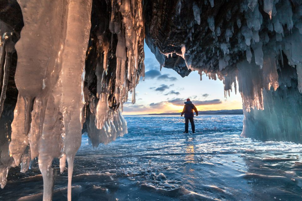 russie, sibérie, asie, baïkal, lac, homme, froid, stalagtite, glace