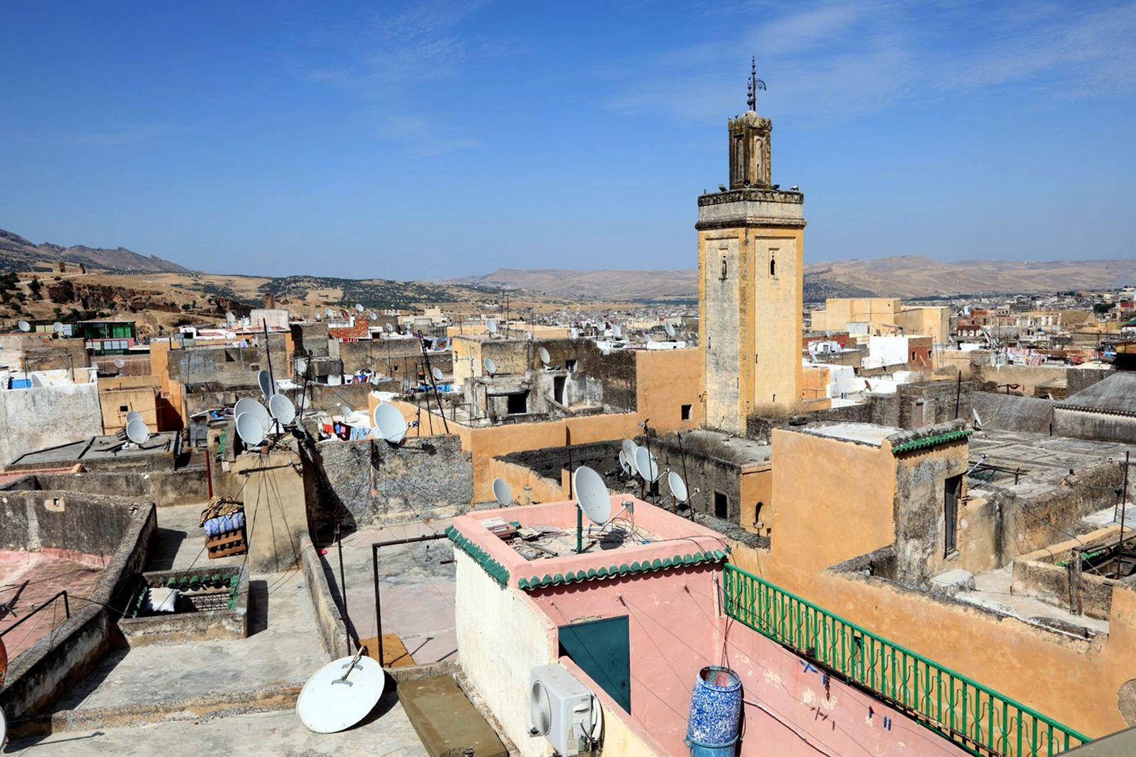 afrique, médina, fès, maroc, ville, nord; toit;