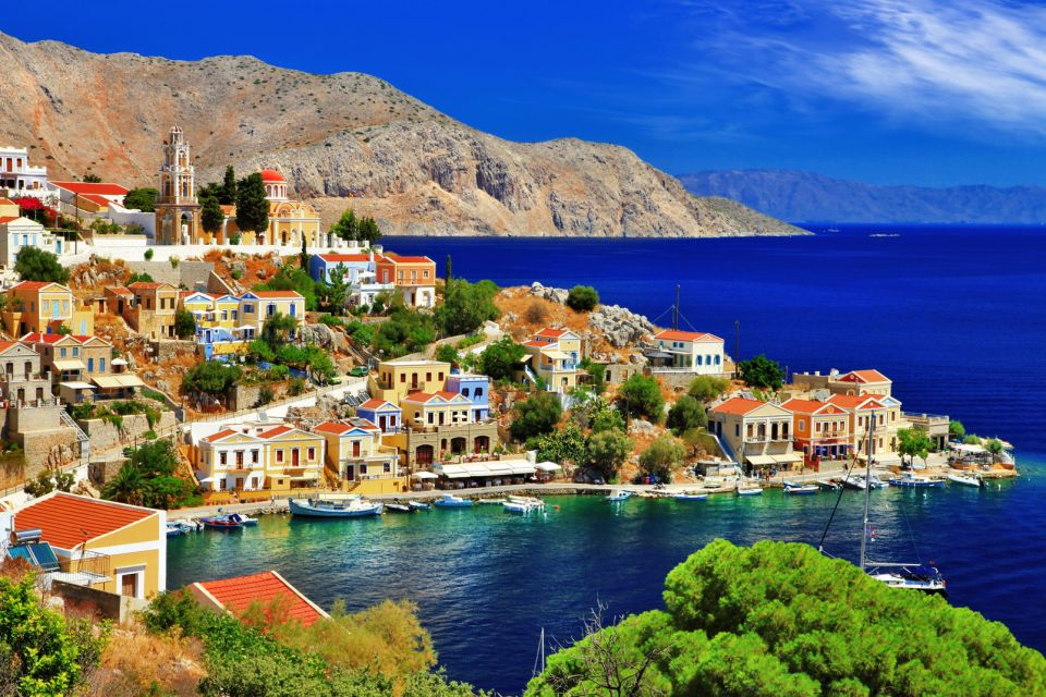 symi, grece, dodecanese, port, maison, colorée