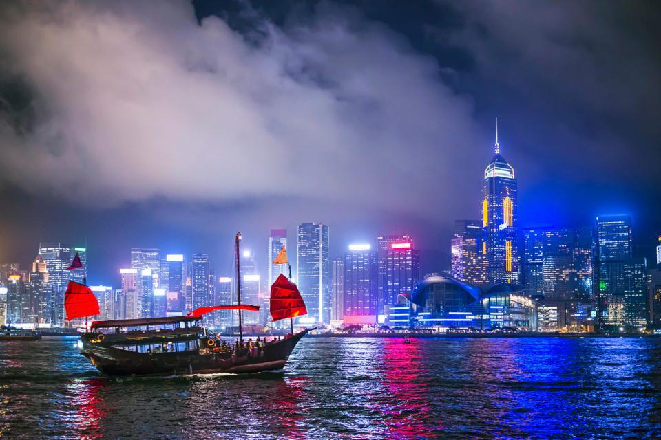 Asie, Hong Kong, Victoria Peak, port, ville, voilier, bateau, gratte ciel,