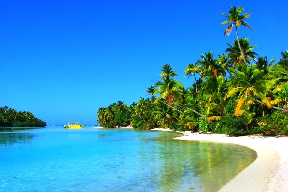 Océan Pacifique, Iles Cook, plage, baignade, bateau, île, palmier, sable, mer,