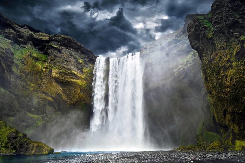 Europe, Islande, Skogafoss, cascade, chute, falaise, rivière,