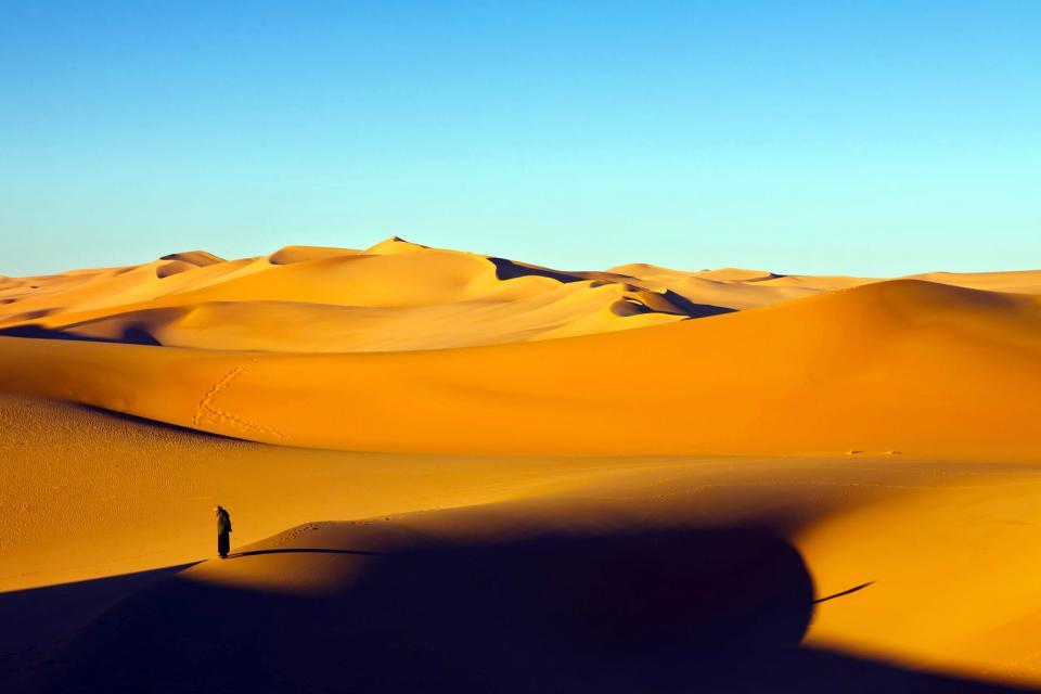 Afrique, Libye, désert, Murzuq, Sahara, dune, sable, homme, seul,