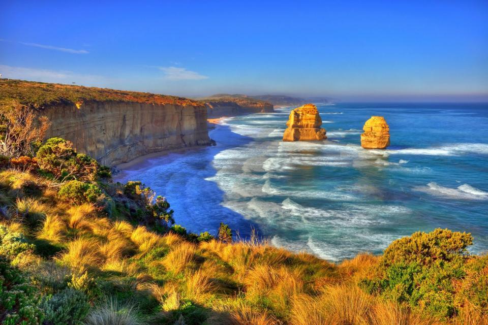 Océanie, Australie, Douze Apôtres, plage, baignade, falaise, rocher, océan, mer,