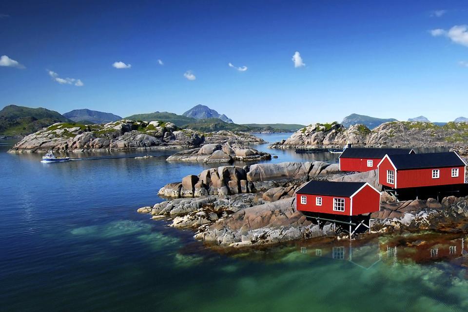 Europe, Norvège, fjord, rocher, maison, mer, montagne, bateau,
