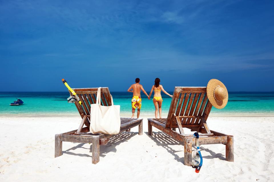 Afrique, São Tomé et Principe, Sao Tome et Principe, plage, transat, baignade, détente, vacances, couple,