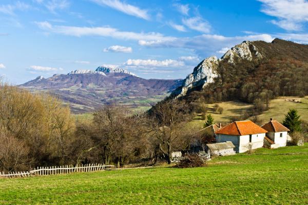 Europe, Serbie, Homolje, montagne, village, maison, prairie, arbre, ferme, ciel,