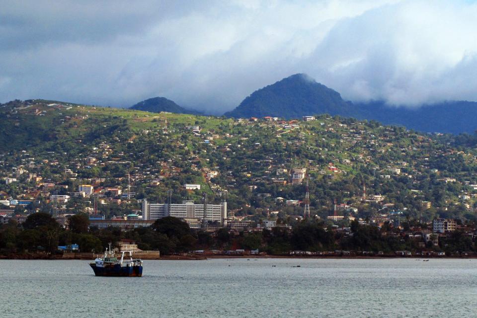 Afrique, Sierra Leone, Freetown, port, montagne, bateau, ville, maison, arbre,