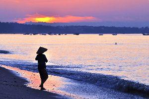 Asie, Vietnam, plage, pêche, pêcheur, bateau, coucher de soleil,