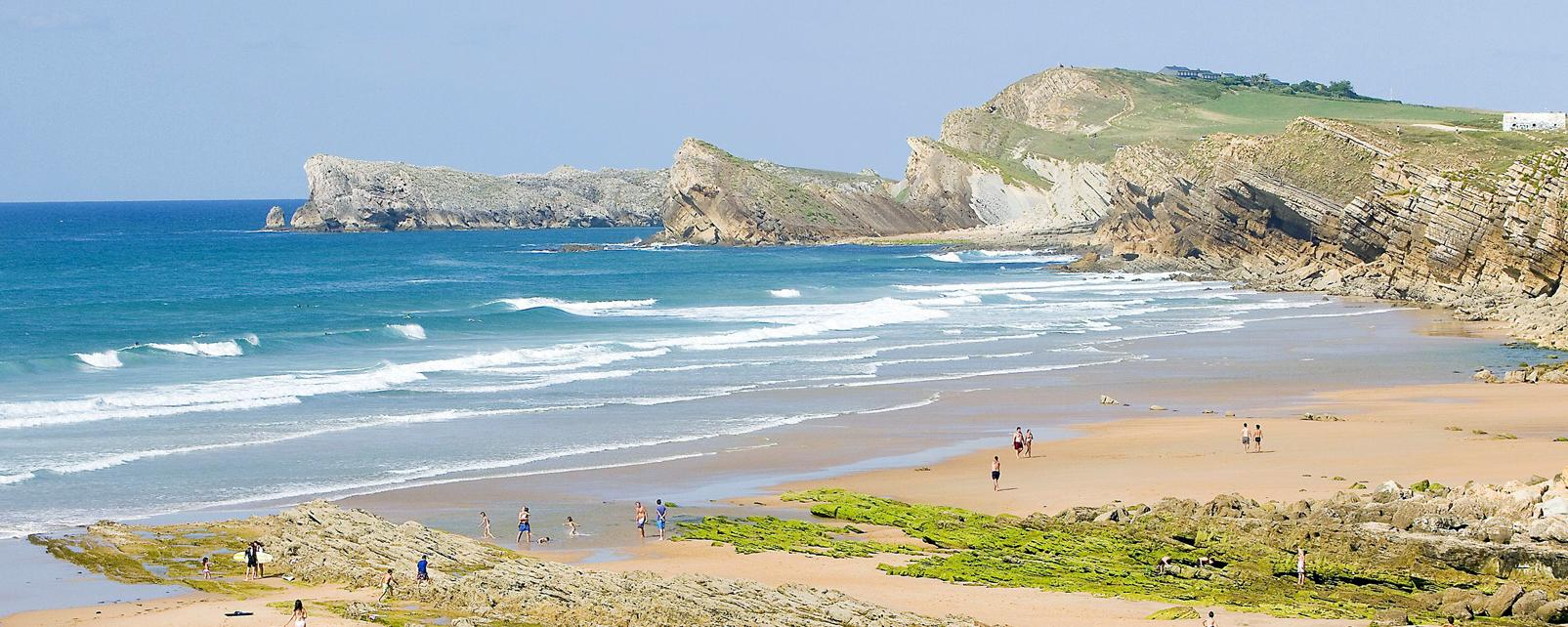 Europe, Espagne, Cantabrie, plage, Valdearenas, rocher, baignade, mer, détente, sable,