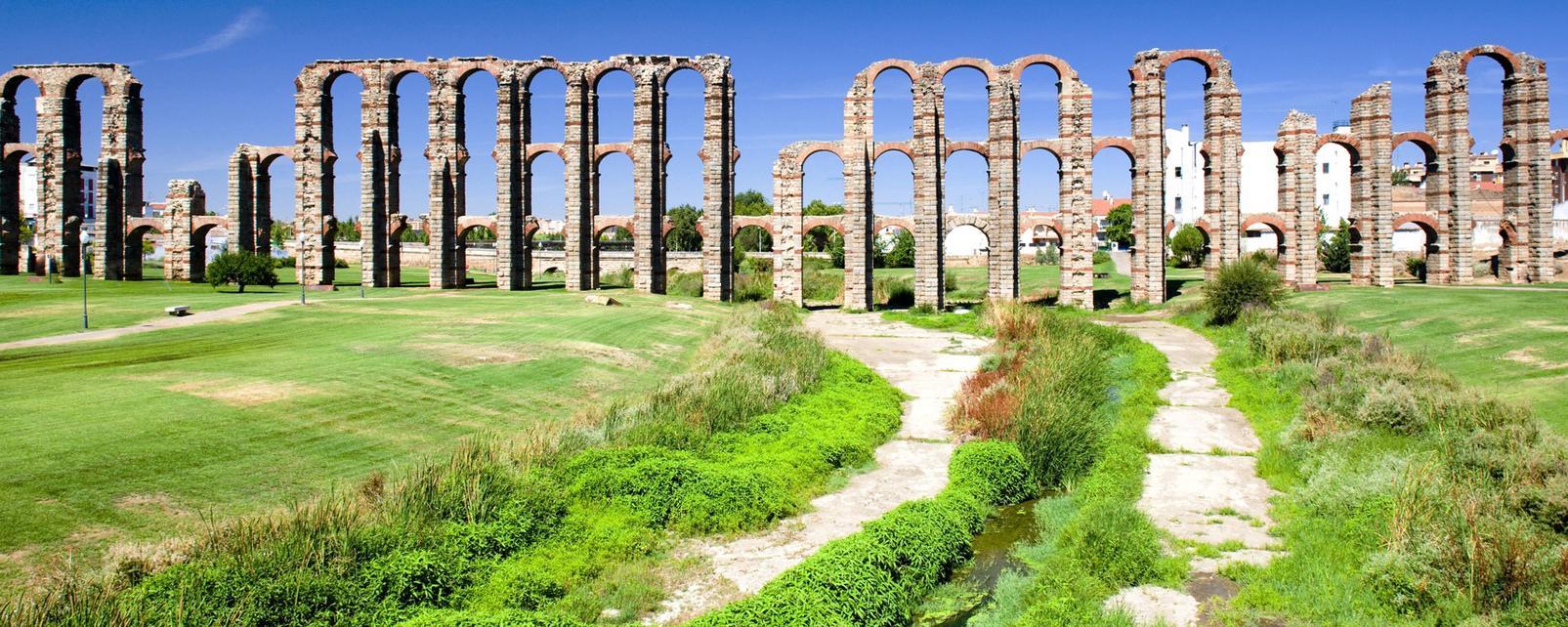 Europe, Espagne, Extremadure, Badajoz, Mérida, aqueduc, Los Milagros, rivière,