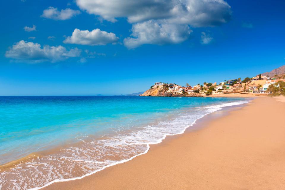 Europe, Espagne, Murcie, Mazarron, plage, Bolnuevo, baignade, mer, ville, maison, sable,