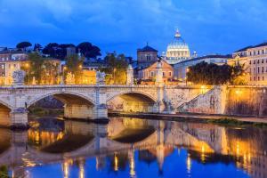 Europe, Italie, Latium, Rome, basilique, San Pietro, pont, Vittorio Emanuele, fleuve, ville, architecture, arbre, bâtiment,