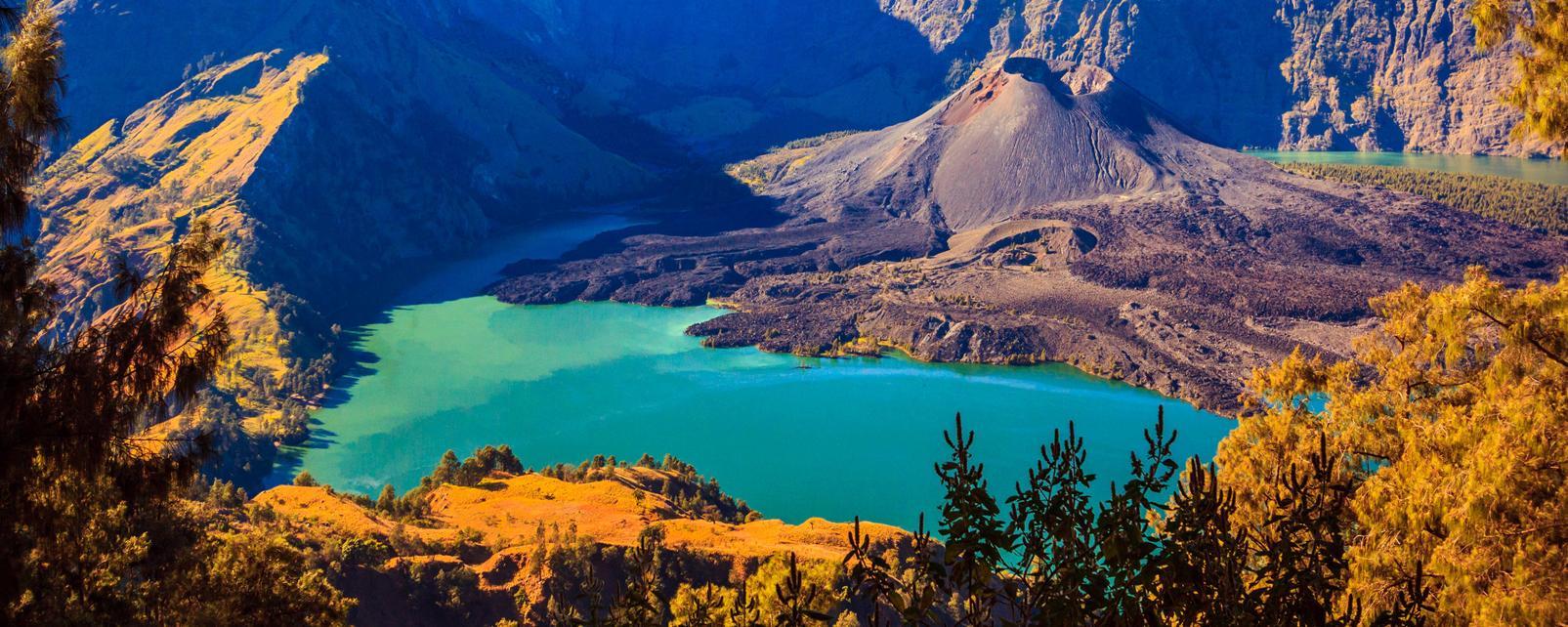 Asie, Indonésie, Lombok, Caldeira, Mont, Rinjani, lac, montagne,