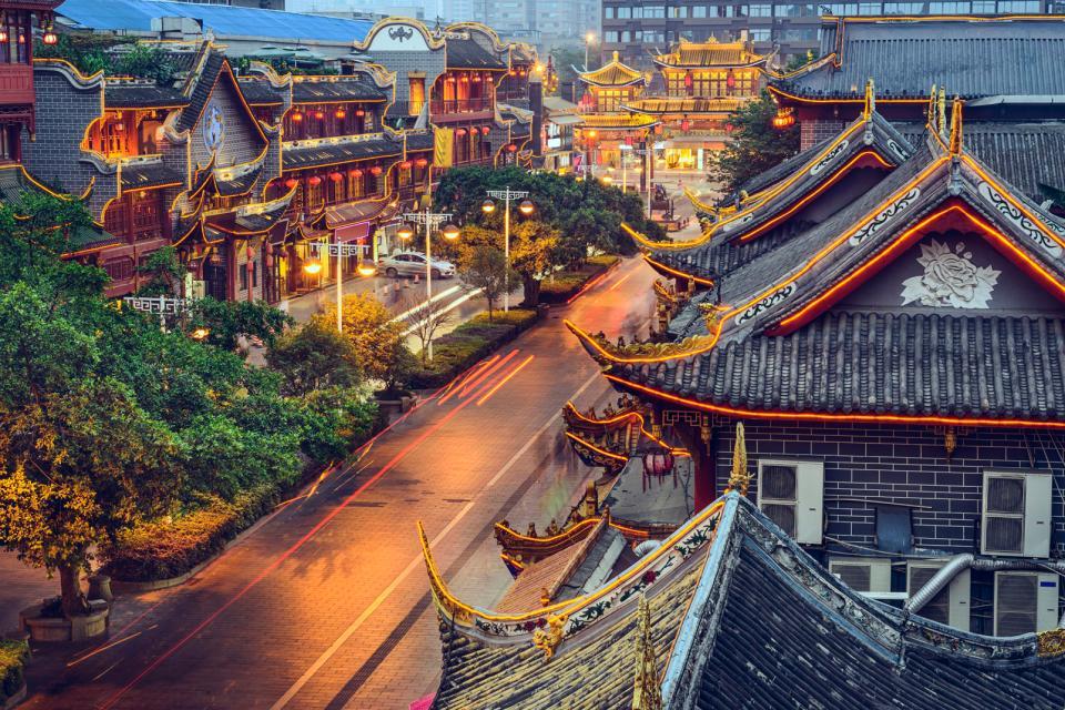 Asie, Chine, Chengdu, Qintai Road, ville, architecture,