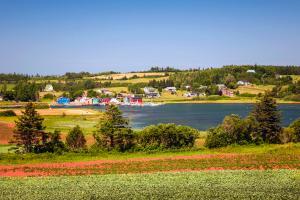 Amérique, Amérique du Nord, Canada, Ile-du-Prince-Edouard, village, arbre, prairie, maison, lac, bateau,