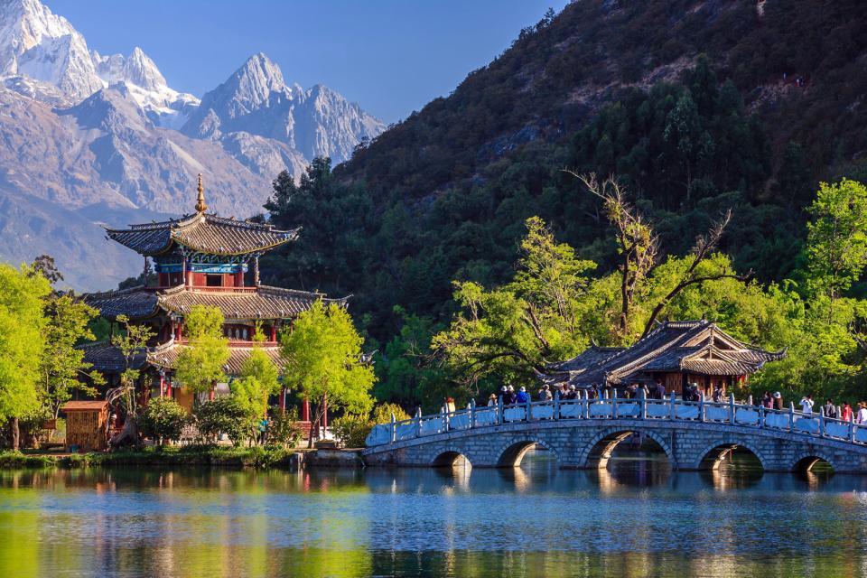 Asie, Chine, Lijiang, Jade Dragon, Montagne, pont, temple,