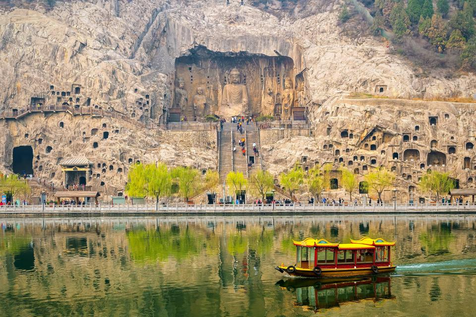 Asie, Chine, Luoyang, Longmen, grotte, bouddha, bateau,