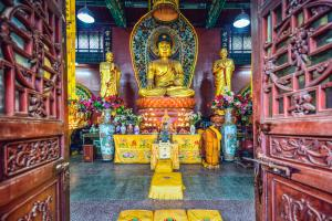 Asie, Chine, Guiyang, temple, Hongfu, sanctuaire, religion, statue, offrande,