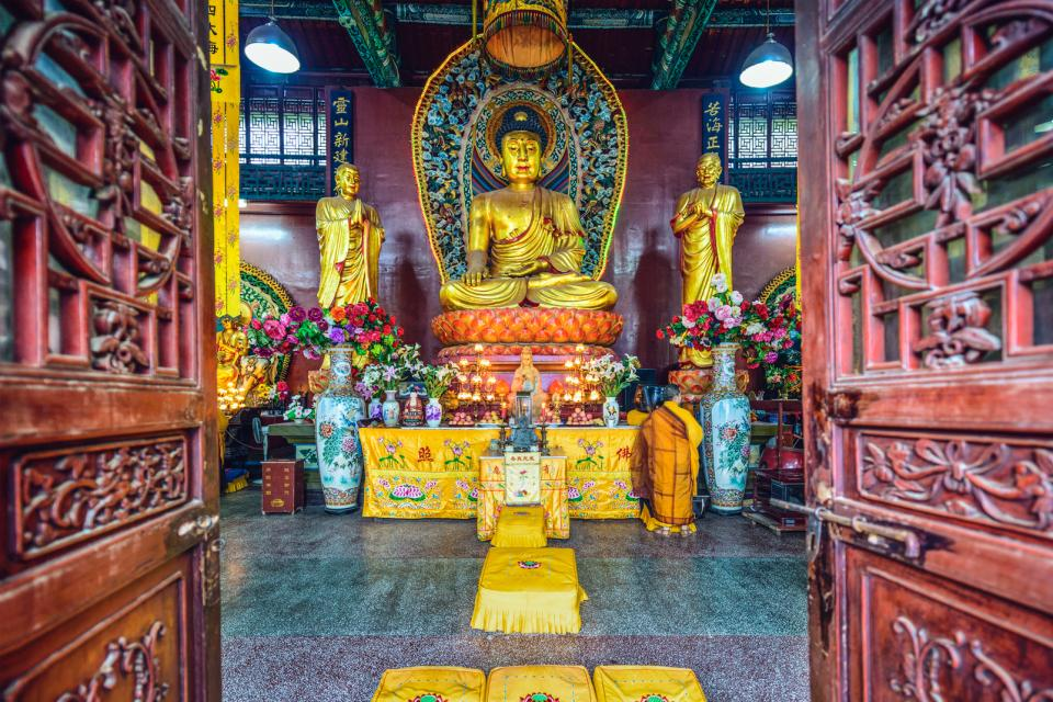 Asie, Chine, Guiyang, temple, Hongfu, sanctuaire, religion, statue, offrande,
