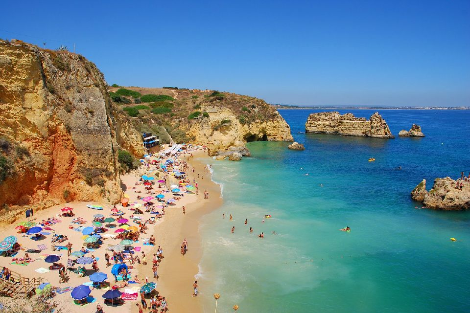 Europe, Portugal, Algarve, plage, Dona Ana, rocher, parasol, mer, baignade, détente,