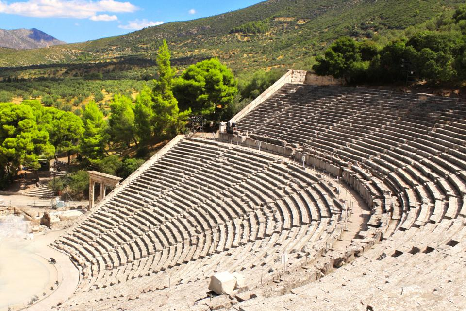Europe, Grèce, Péloponnèse, amphithéâtre, Epidaure, ruine, arbre, plaine,