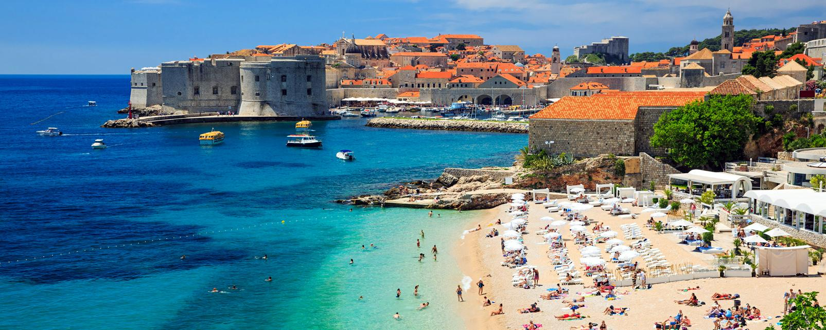 Europe, Croatie, Dubrovnik, ville, plage, baignade, forteresse, mer,