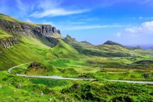 Europe, Royaume-Uni, Ecosse, Highlands, Quiraing, montagne, route, verdure, rocher,