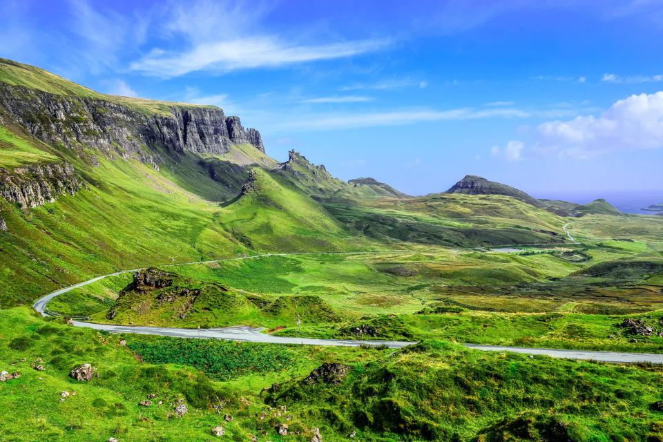 Europe, Royaume-Uni, Ecosse, Highlands, Quiraing, montagne, route, verdure, rocher,