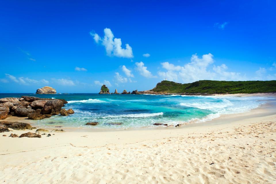 Caraïbes, Guadeloupe, plage, baignade, sable, mer, rocher,