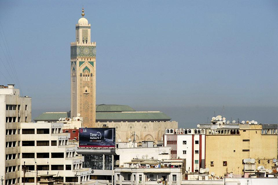 The minaret emits prayer calls, which can be heard throughout the city