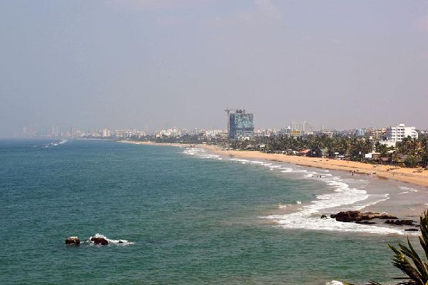 The shoreline in Colombo, the largest city of Sri Lanka, but not its capital.