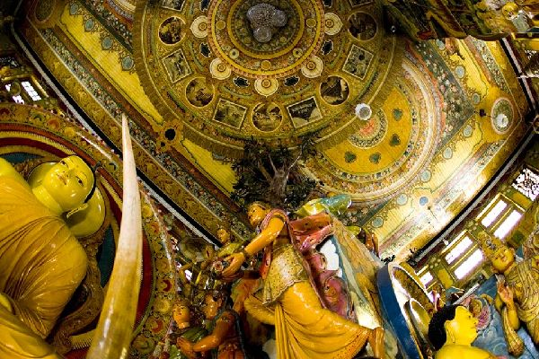 Roof of Buddhist temple in Colombo, Sri Lanka.