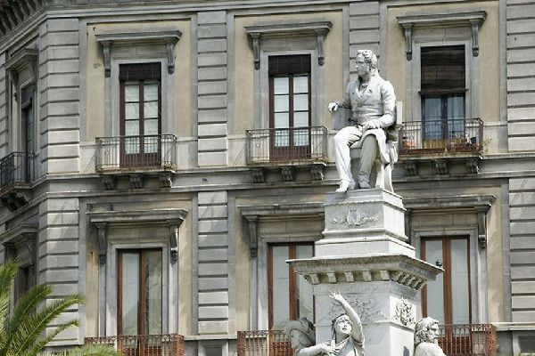 The monument erected in memory of Vincenzo Bellini on the Piazza Stesicoro in Catania, the Norma composer's home town