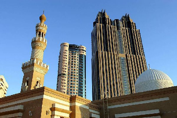Dubai is made up of several clusters of skyscrapers along the coastline.