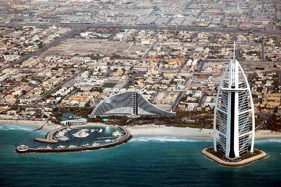 Dubai is famous for its hotels and its imaginative structures, including the Burj al Arab Hotel.