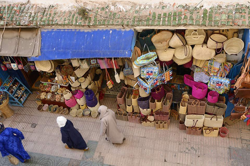 Morocco has a quality crafts industry. Visit Essaouira's market to see beautiful baskets, leather goods, spices and jewellery.