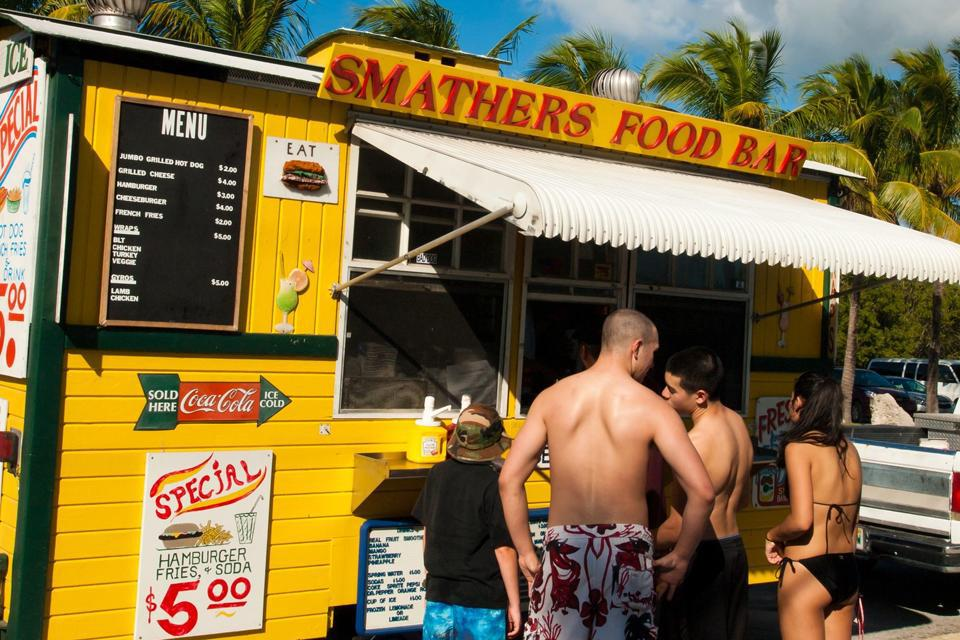 There are plenty of places to quench your thirst on Smathers beach, the longest beach in Key West.