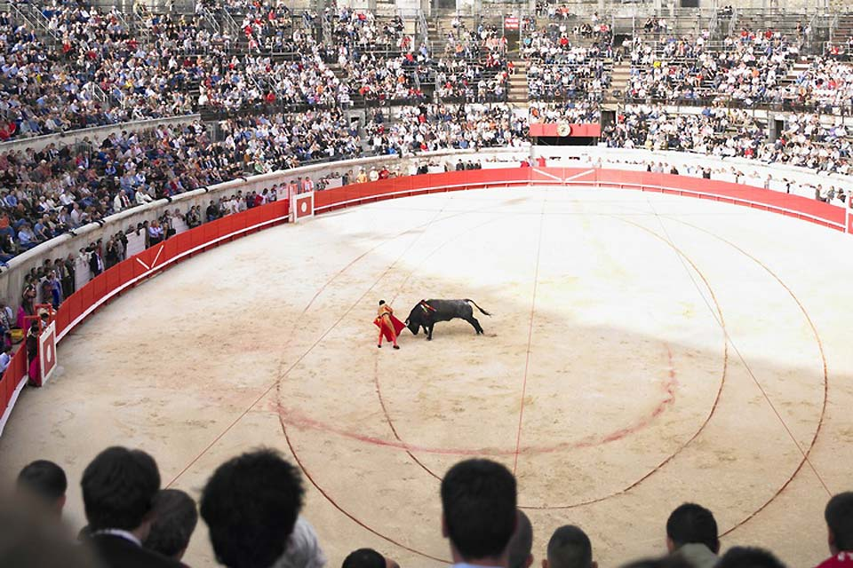 Bullfighting is a veritable institution in the city of Nîmes. Fights are regularly held in the city arena.