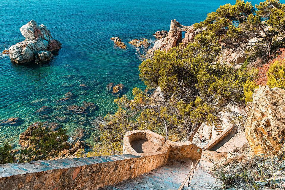 The 4 miles of coastline have plenty of coves where visitors can escape from the bustle of Lloret del Mar.