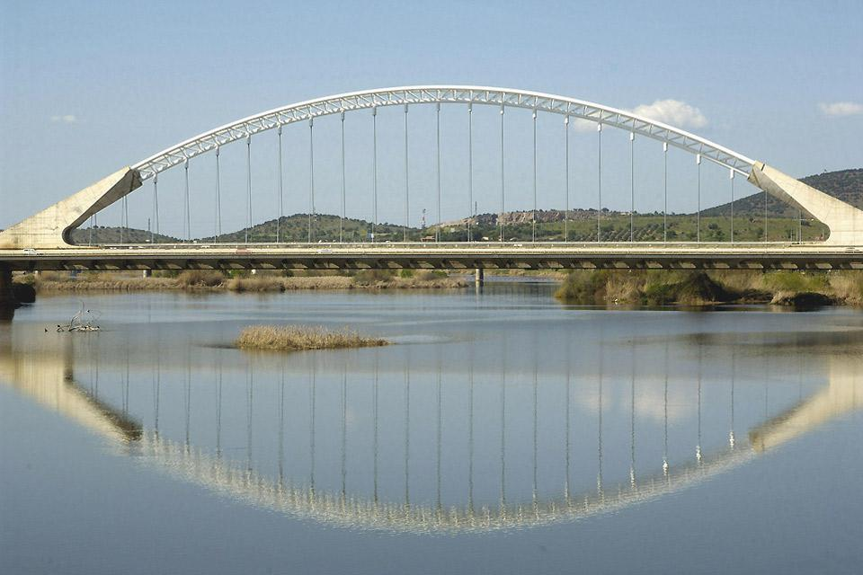 This bridge spans the Guadiana river.