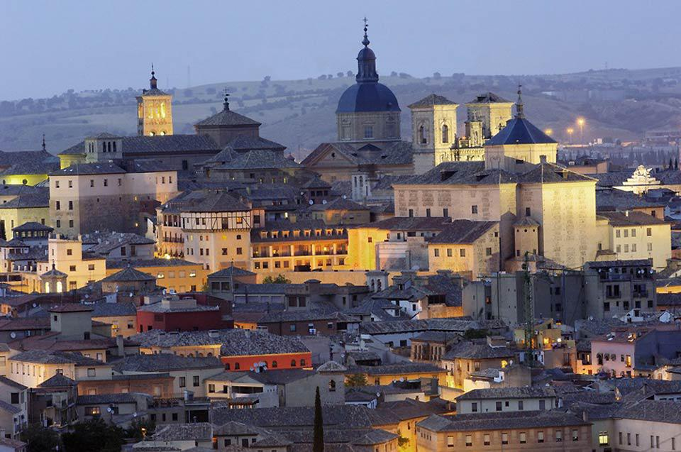 Perched on a rocky hill surrounded by the Tagus river in central Spain.